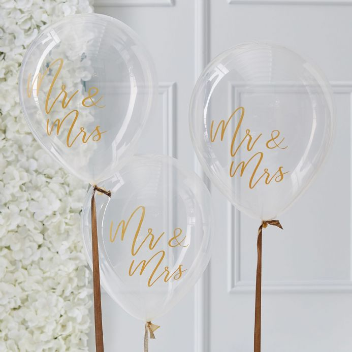 Mr & Mrs Gold Balloons